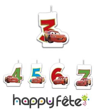 Bougie chiffre d'anniversaire Cars