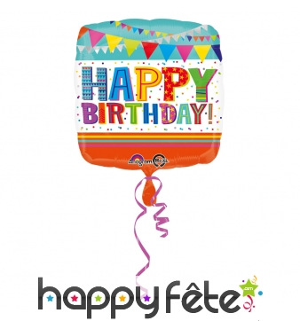 Ballon carré happy birthday coloré