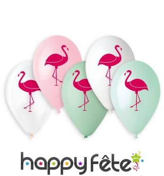 Ballons colorés imprimé flamant rose, par 5