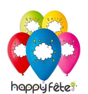 Ballons colorés imprimé nuage, par 5