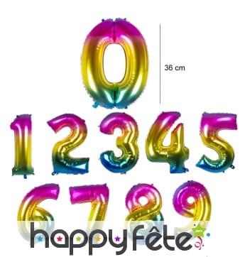 Ballon chiffre multicolore en alu de 36 cm