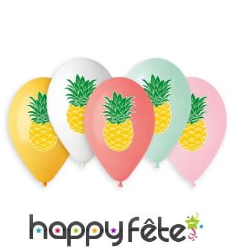 Ballons colorés motif ananas, par 5