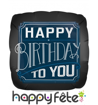 Ballon carré noir Happy Birthday to you de 43 cm