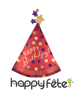 Ballon chapeau pointu rouge happy birthday 68x91cm