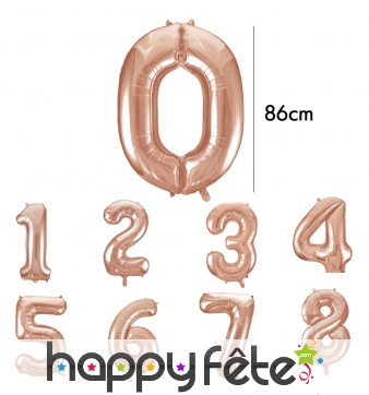 Ballon chiffre rose métallisé de 86cm