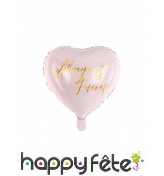 Ballon coeur rose always & forever de 45 cm