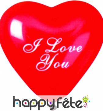"""Ballons coeur rouge """"I love you"""""""