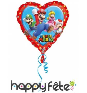 Ballon coeur Super Mario et ses amis de 43 cm