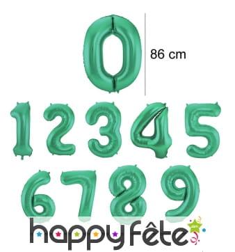 Ballon chiffre vert en aluminium de 86 cm