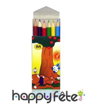 Boite de 6 crayons de couleurs, 9cm