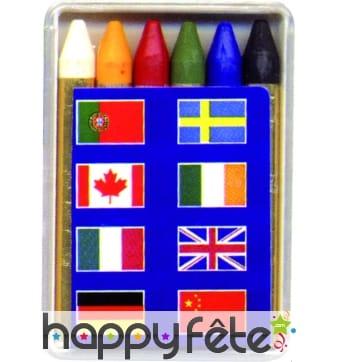 Boîte de 6 crayons gras drapeaux