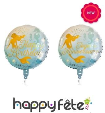 Ballon d'anniversaire rond métallisé sirène, 45cm
