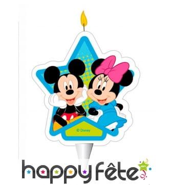 Bougie d'anniversaire Mickey et Minnie de 7,5 cm
