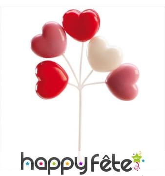 Bouquet de ballons coeurs pour gâteau
