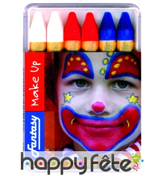 Boîte de crayons bleu/blanc/rouge