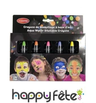 Boîte de crayons de maquillage à l'eau fluo