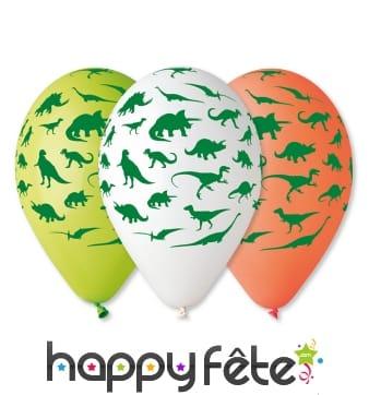 Ballons décorés de petits dinosaures