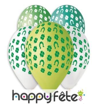 Ballons décorés de trèfles, St Patrick
