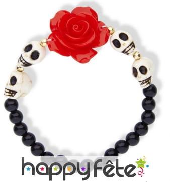 Bracelet Dia de los muertos avec rose rouge
