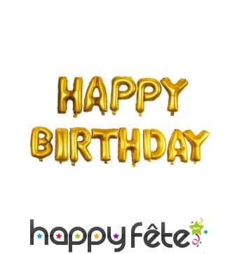 Ballons de lettres Happy Birthday dorés