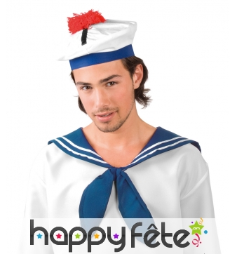 Bonnet de marin blanc bleu pompon rouge