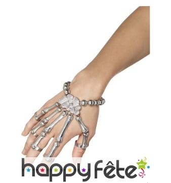 Bracelet de main squelette argentée