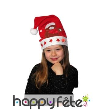 Bonnet de Noël décoré et lumineux pour enfant