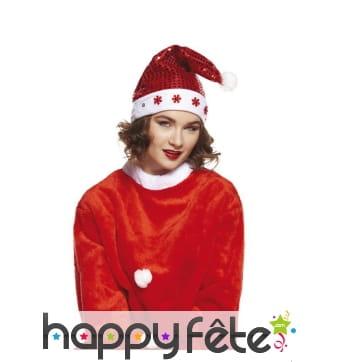 Bonnet de Noël pailleté rouge et lumineux