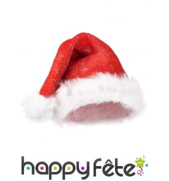 Bonnet de Noël rouge avec paillettes argentées