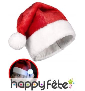 Bonnet de Noël rouge avec pompom lumineux