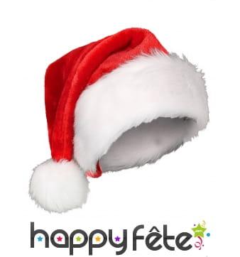 Bonnet de Noël rouge contour et pompon blanc
