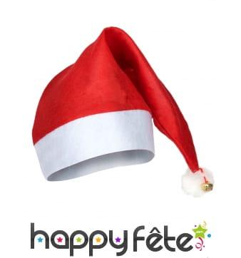 Bonnet de Noël rouge et blanc avec grelot