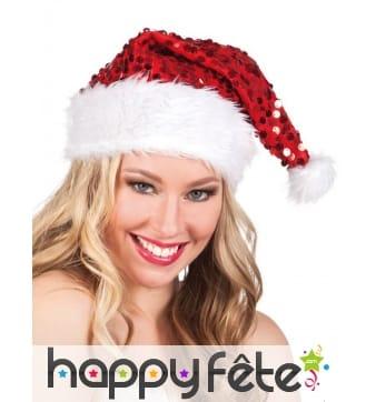 Bonnet de Noël rouge recouvert de sequins