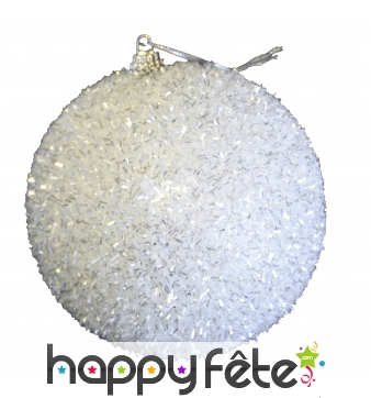 Boule de Noël blanche à paillettes de 10 cm