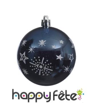 Boule de Noël étoiles et flocons sur fond bleu 8cm