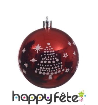 Boule de Noël rouge flocon et sapin 8cm