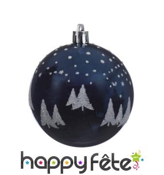 Boule de Noël sapin pailleté sur fond bleu 8cm