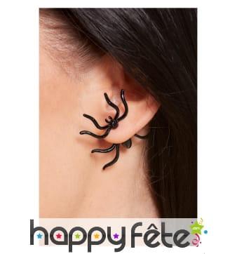 Boucles d'oreille araignée noire