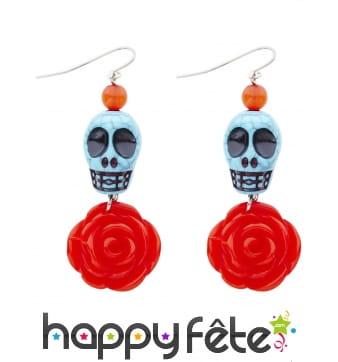 Boucles d'oreille Dia de los muerto avec roses