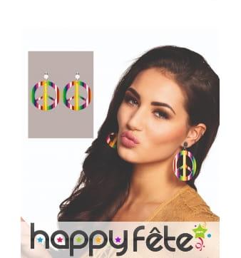 Boucles d'oreille symbole peace and love colorées