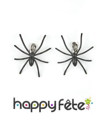 Boucles d'oreilles araignées noires