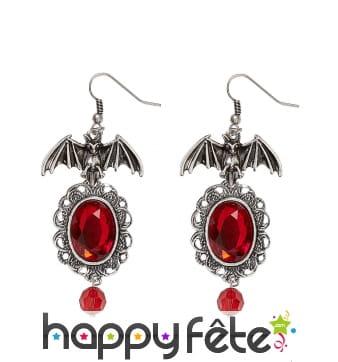 Boucles d'oreilles chauve souris et pierre rouge