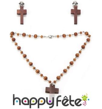 Boucles d'oreilles et collier croix en bois marron