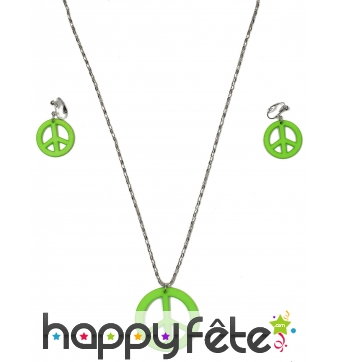 Boucles d'oreilles et collier vert peace and love