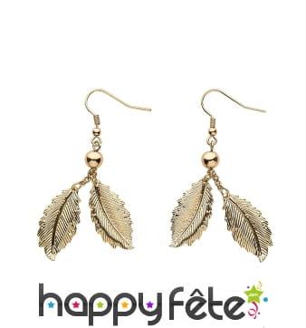 Boucles d'oreilles feuilles de laurier dorées