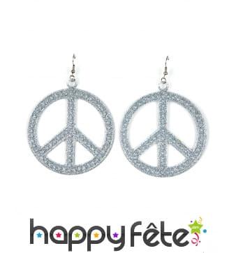 Boucles d oreilles peace and love argentées 7cm