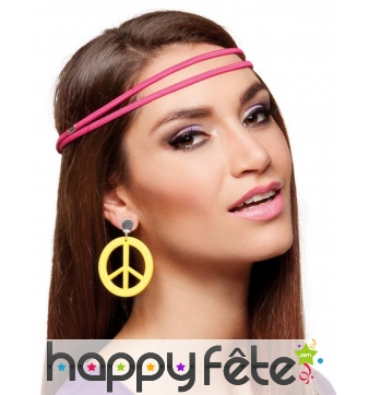 Boucles d'oreilles peace and love jaunes
