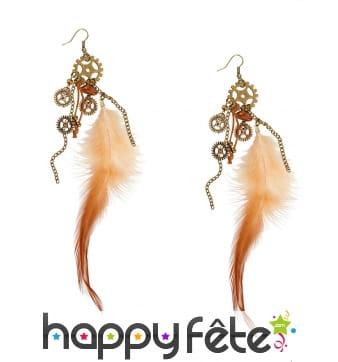 Boucles d'oreilles Steampunk plumes et engrenages