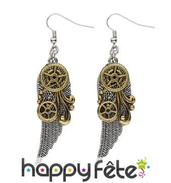 Boucles d'oreilles Steampunk plumes et rouages