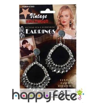 Boucles d'oreilles vintage, faux diamants